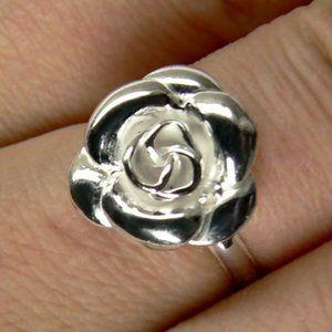 Flower 3D Rose Sterling Silver Ring